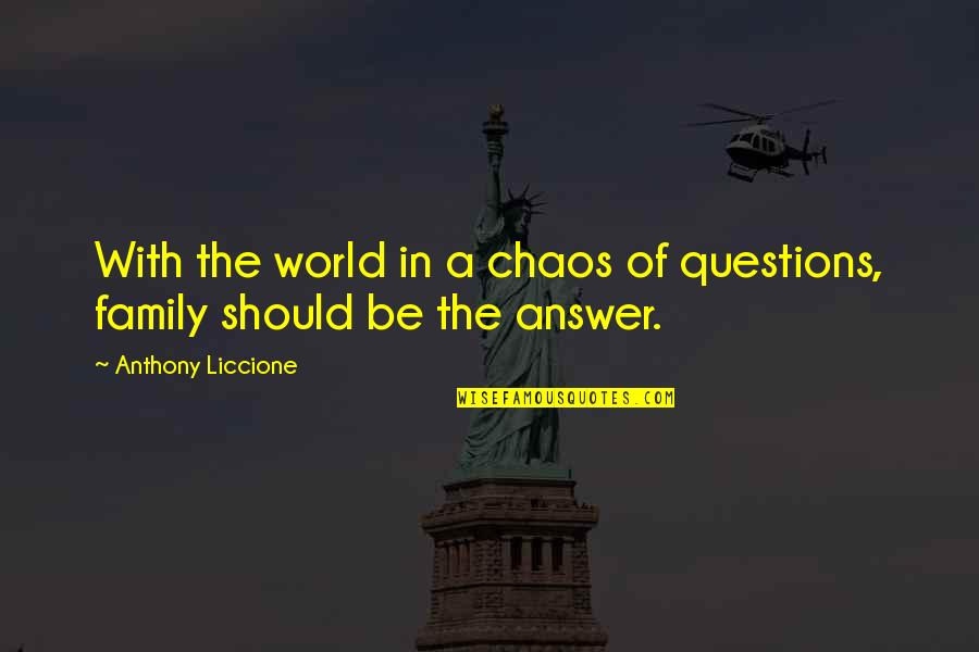Who Quotes By Anthony Liccione: With the world in a chaos of questions,