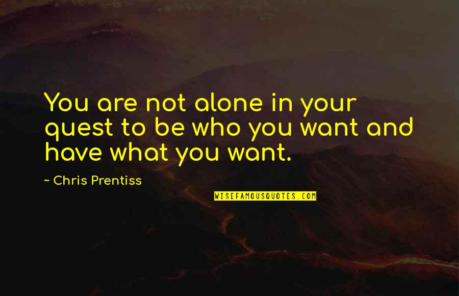 Who You Are And Who You Want To Be Quotes By Chris Prentiss: You are not alone in your quest to