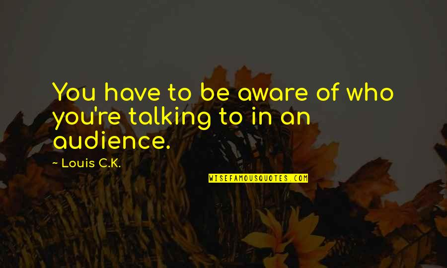 Who You Talking To Quotes By Louis C.K.: You have to be aware of who you're