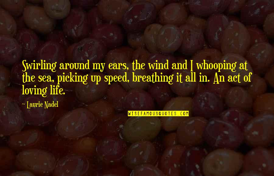Whooping Quotes By Laurie Nadel: Swirling around my ears, the wind and I