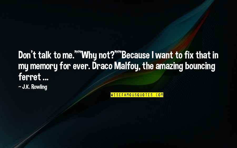 "Why Am I Amazing Quotes By J.K. Rowling: Don't talk to me.""""Why not?""""Because I want to"