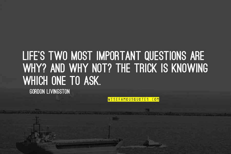 Why Ask Questions Quotes By Gordon Livingston: Life's two most important questions are Why? and