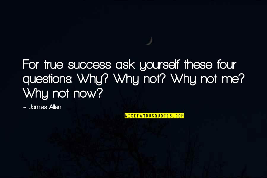 Why Ask Questions Quotes By James Allen: For true success ask yourself these four questions: