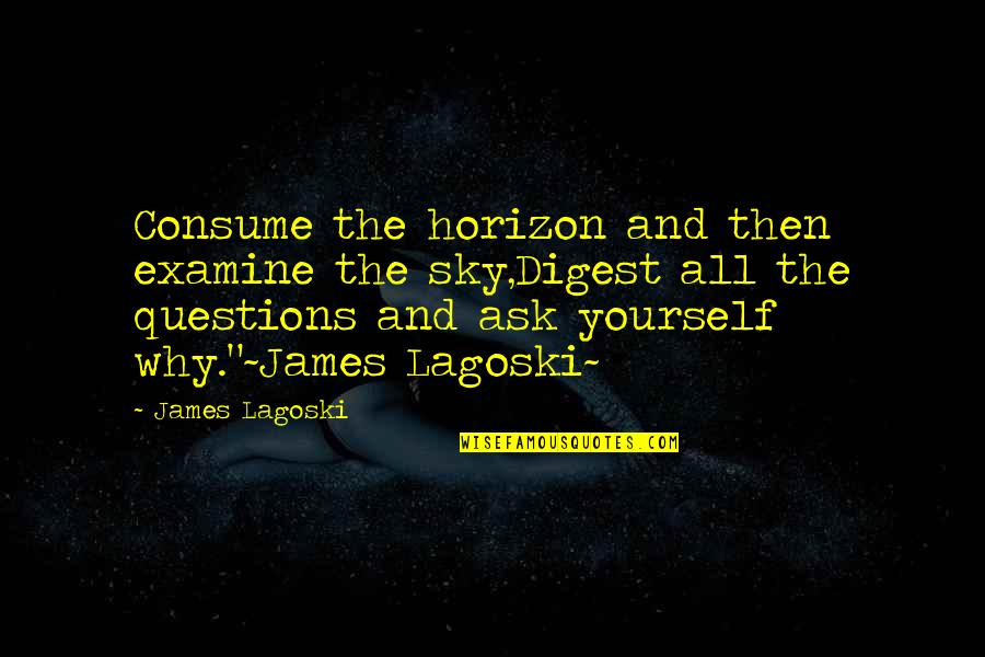 Why Ask Questions Quotes By James Lagoski: Consume the horizon and then examine the sky,Digest