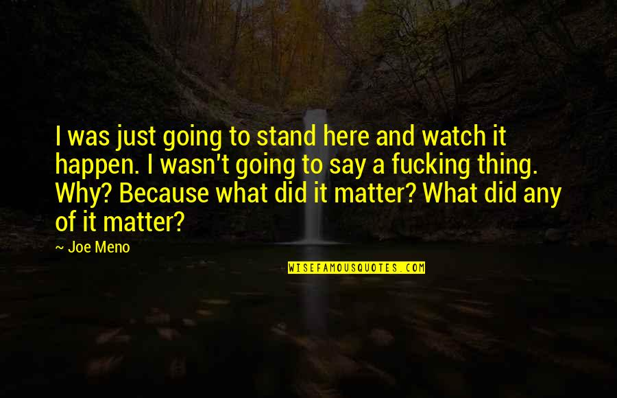 Why Did This Happen Quotes By Joe Meno: I was just going to stand here and
