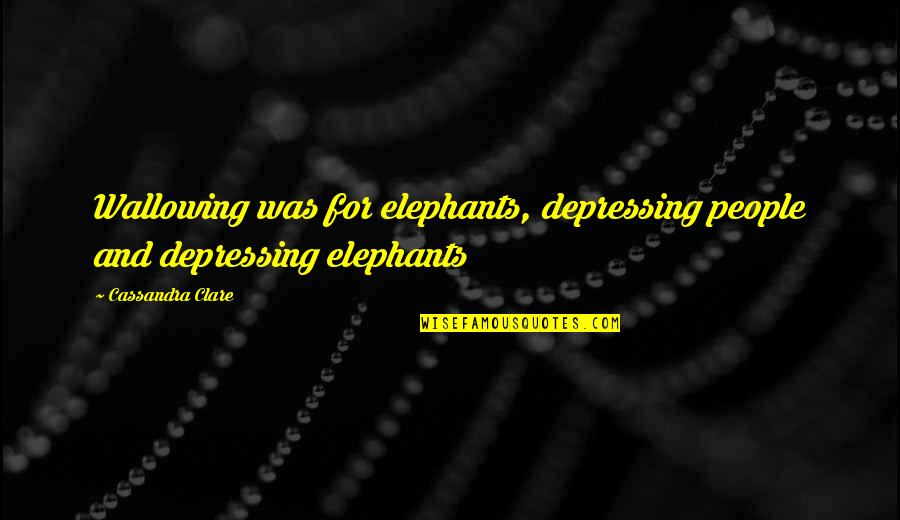 Why U Hurt Me Always Quotes By Cassandra Clare: Wallowing was for elephants, depressing people and depressing