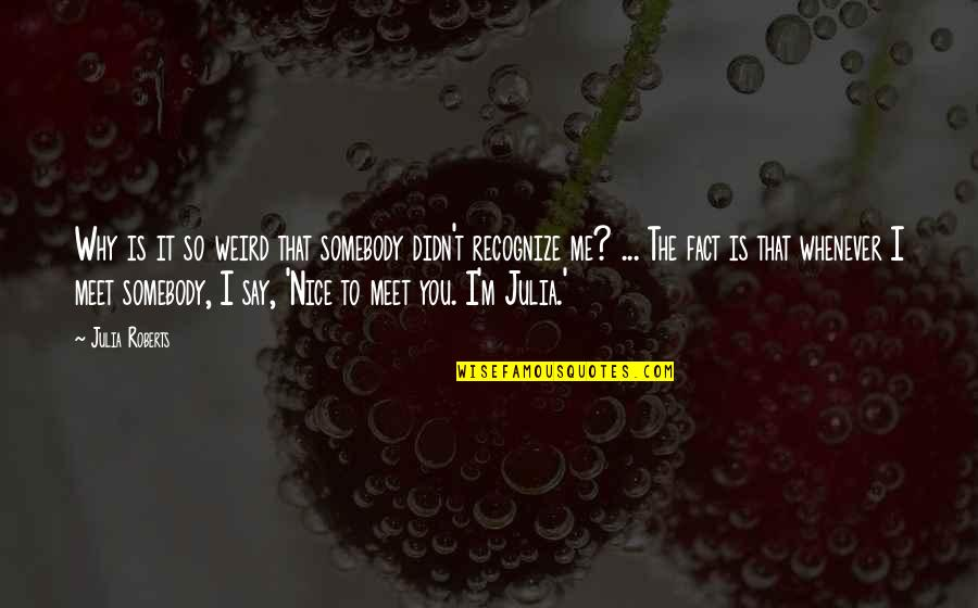 Why We Meet Quotes By Julia Roberts: Why is it so weird that somebody didn't