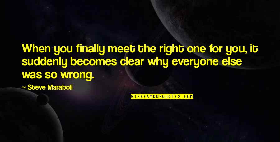 Why We Meet Quotes By Steve Maraboli: When you finally meet the right one for