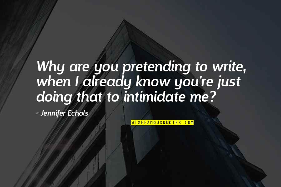 Why We Write Quotes By Jennifer Echols: Why are you pretending to write, when I