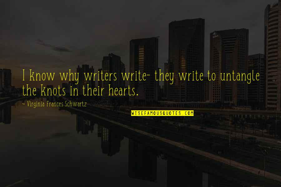 Why We Write Quotes By Virginia Frances Schwartz: I know why writers write- they write to