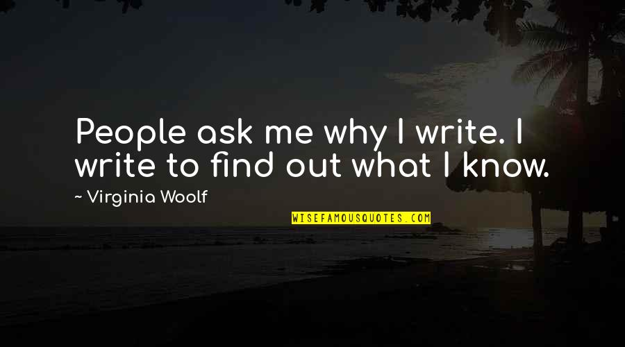Why We Write Quotes By Virginia Woolf: People ask me why I write. I write