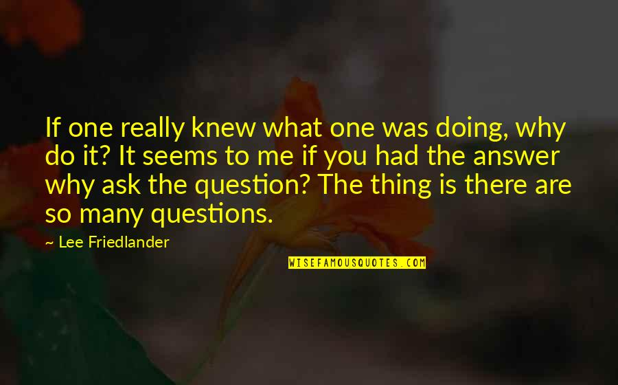 Why You Doing This To Me Quotes By Lee Friedlander: If one really knew what one was doing,