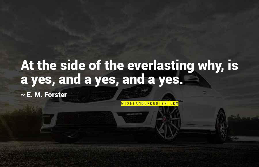 Why'm Quotes By E. M. Forster: At the side of the everlasting why, is
