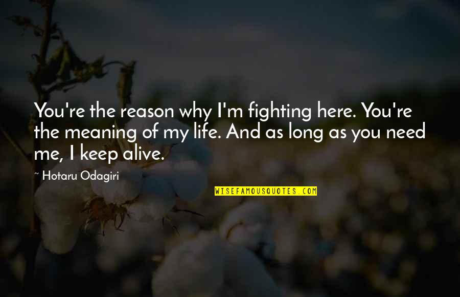 Why'm Quotes By Hotaru Odagiri: You're the reason why I'm fighting here. You're