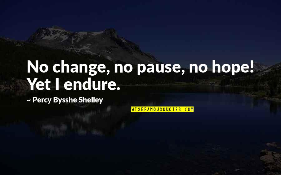 Widow Clicquot Quotes By Percy Bysshe Shelley: No change, no pause, no hope! Yet I