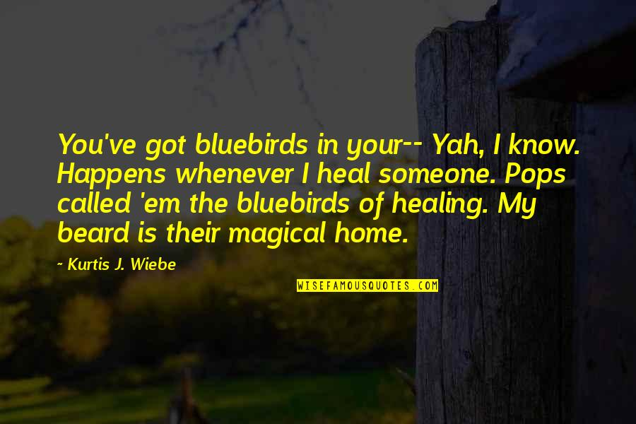 Wiebe Quotes By Kurtis J. Wiebe: You've got bluebirds in your-- Yah, I know.