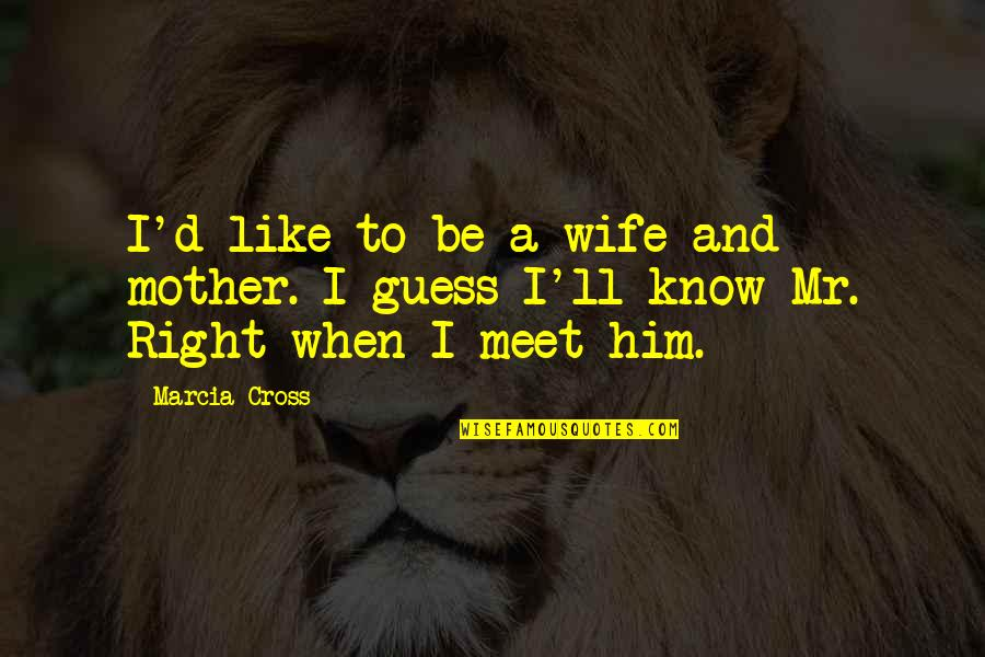 Wife Vs Mother Quotes By Marcia Cross: I'd like to be a wife and mother.