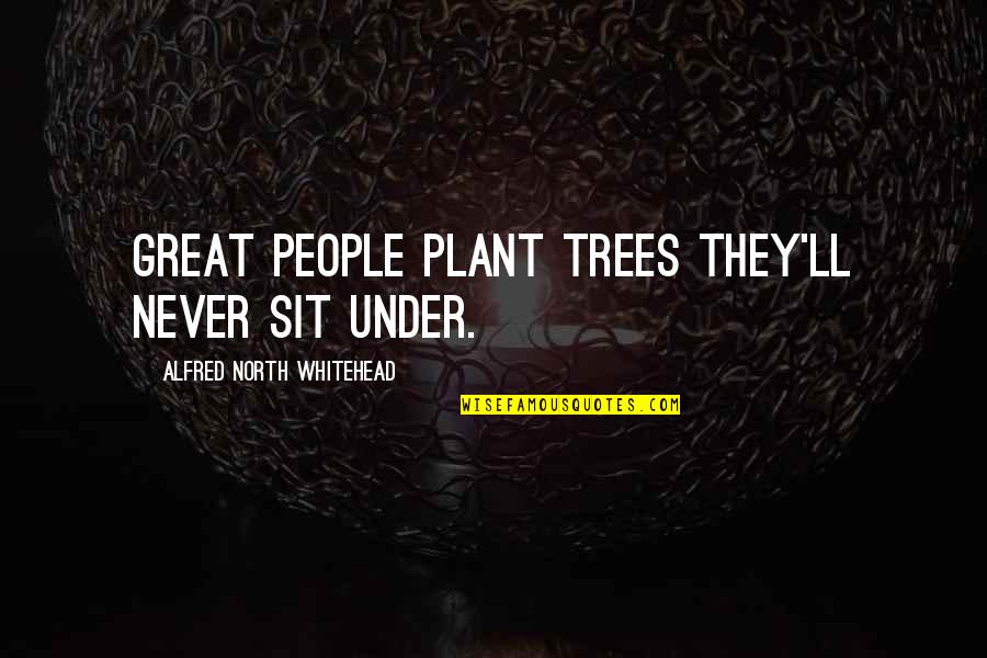 Wilfers Quotes By Alfred North Whitehead: Great people plant trees they'll never sit under.
