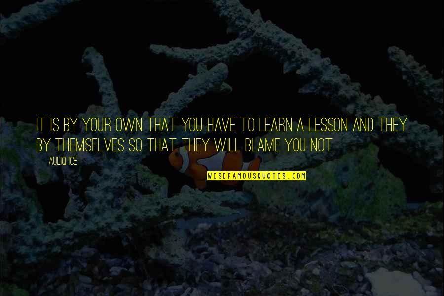 Will All Make Mistakes Quotes By Auliq Ice: It is by your own that you have
