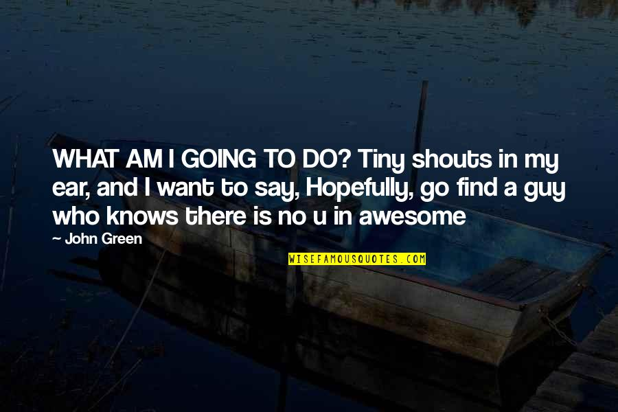 Will Grayson Will Grayson Quotes By John Green: WHAT AM I GOING TO DO? Tiny shouts