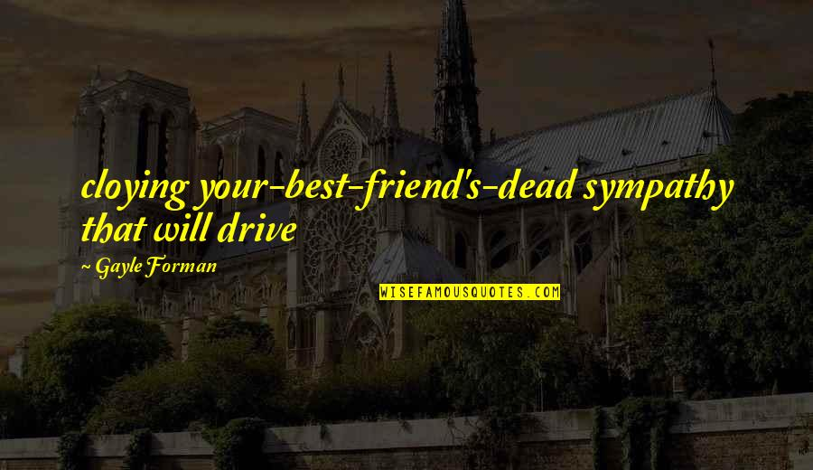 Will U B My Friend Quotes By Gayle Forman: cloying your-best-friend's-dead sympathy that will drive