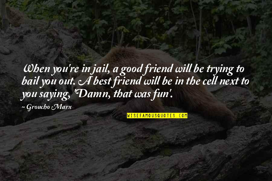 Will U B My Friend Quotes By Groucho Marx: When you're in jail, a good friend will