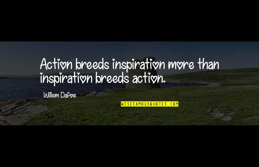 Willem Dafoe Quotes By Willem Dafoe: Action breeds inspiration more than inspiration breeds action.