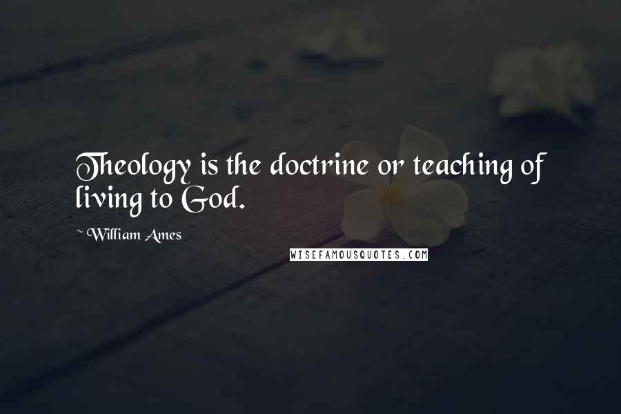 William Ames quotes: Theology is the doctrine or teaching of living to God.