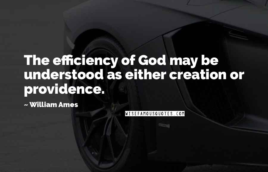 William Ames quotes: The efficiency of God may be understood as either creation or providence.
