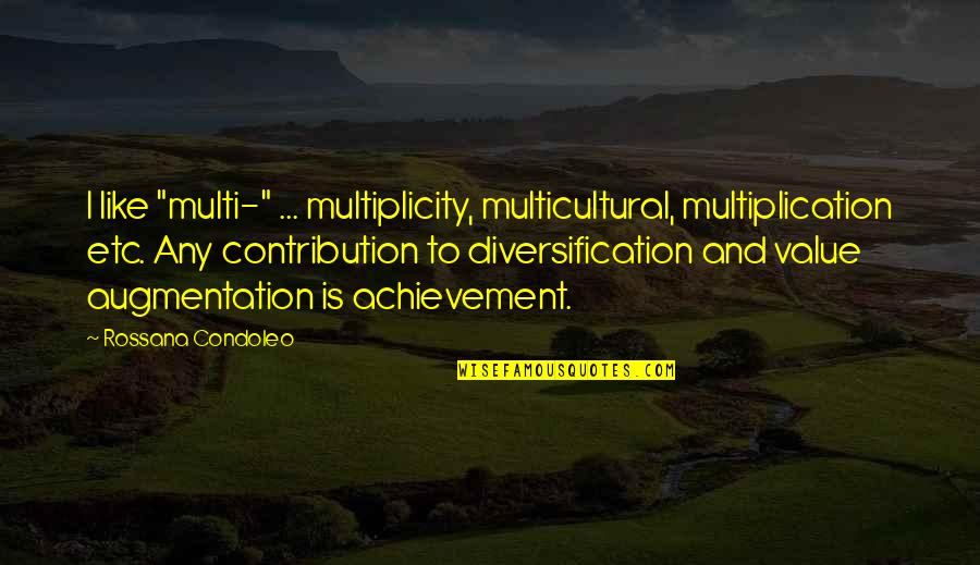 "William Beech Quotes By Rossana Condoleo: I like ""multi-"" ... multiplicity, multicultural, multiplication etc."