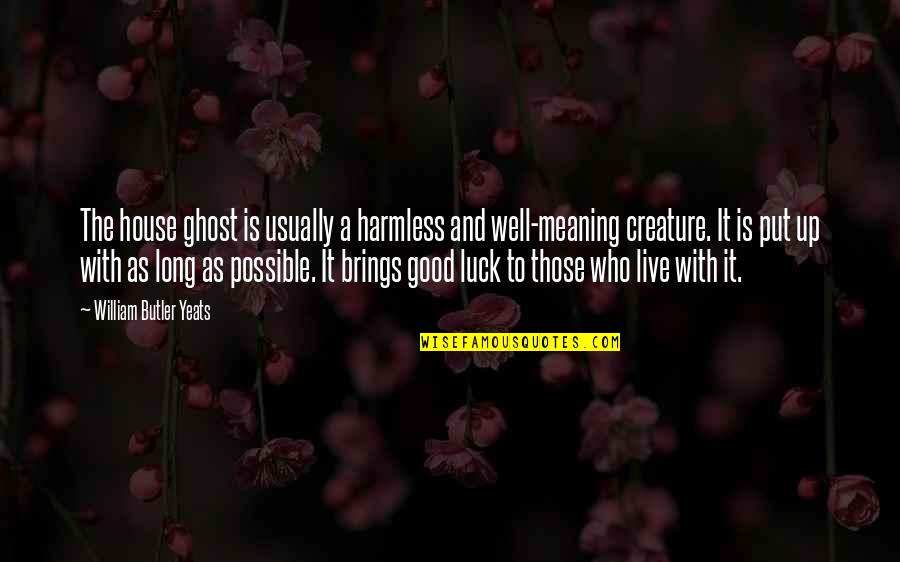 William Butler Yeats Quotes By William Butler Yeats: The house ghost is usually a harmless and