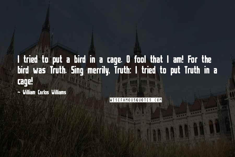 William Carlos Williams quotes: I tried to put a bird in a cage. O fool that I am! For the bird was Truth. Sing merrily, Truth: I tried to put Truth in a cage!