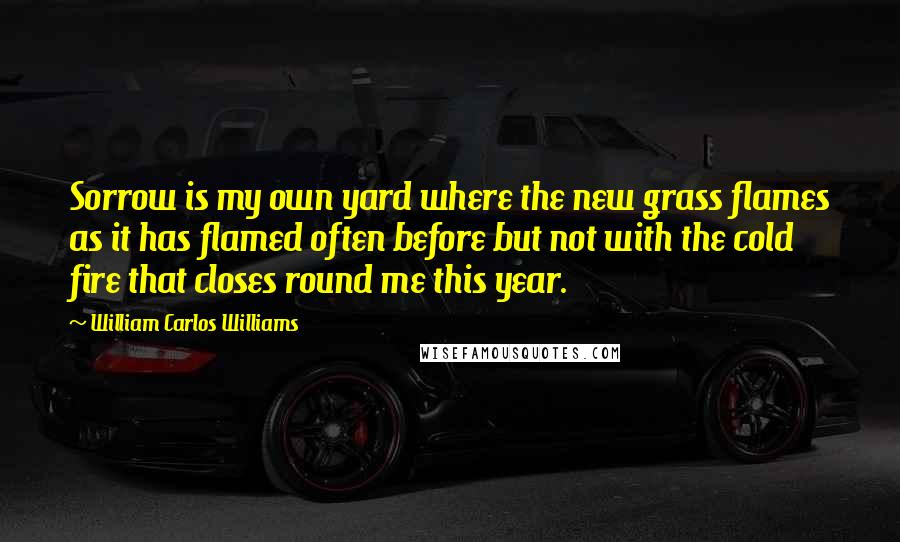 William Carlos Williams quotes: Sorrow is my own yard where the new grass flames as it has flamed often before but not with the cold fire that closes round me this year.
