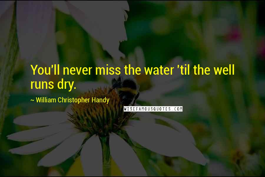 William Christopher Handy quotes: You'll never miss the water 'til the well runs dry.
