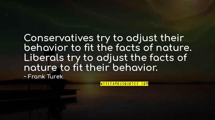 William Churchill Funny Quotes By Frank Turek: Conservatives try to adjust their behavior to fit
