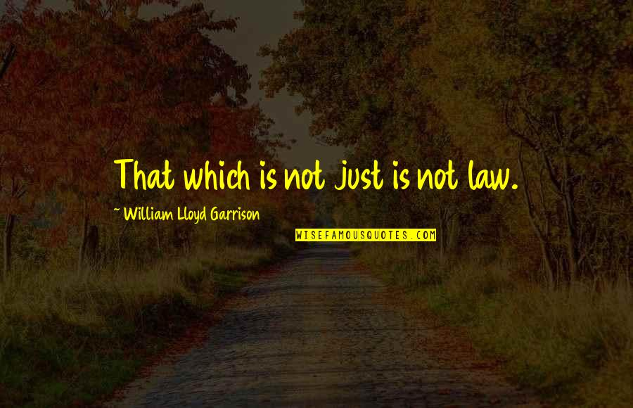 William F Garrison Quotes By William Lloyd Garrison: That which is not just is not law.
