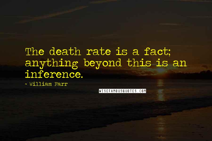 William Farr quotes: The death rate is a fact; anything beyond this is an inference.