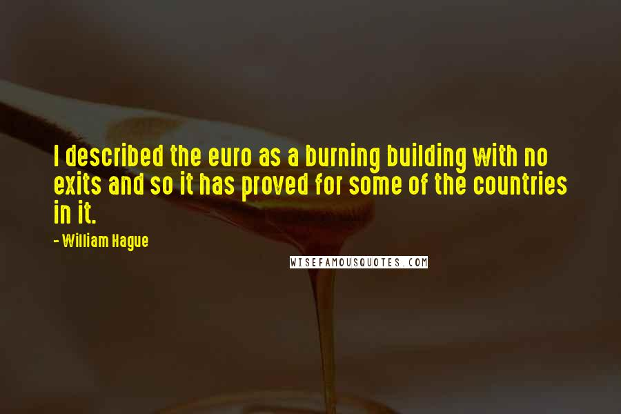 William Hague quotes: I described the euro as a burning building with no exits and so it has proved for some of the countries in it.