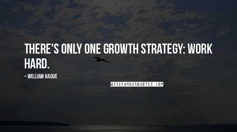 William Hague quotes: There's only one growth strategy: work hard.