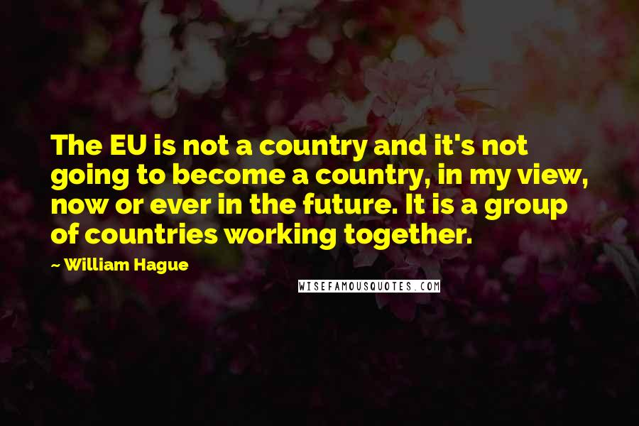 William Hague quotes: The EU is not a country and it's not going to become a country, in my view, now or ever in the future. It is a group of countries working