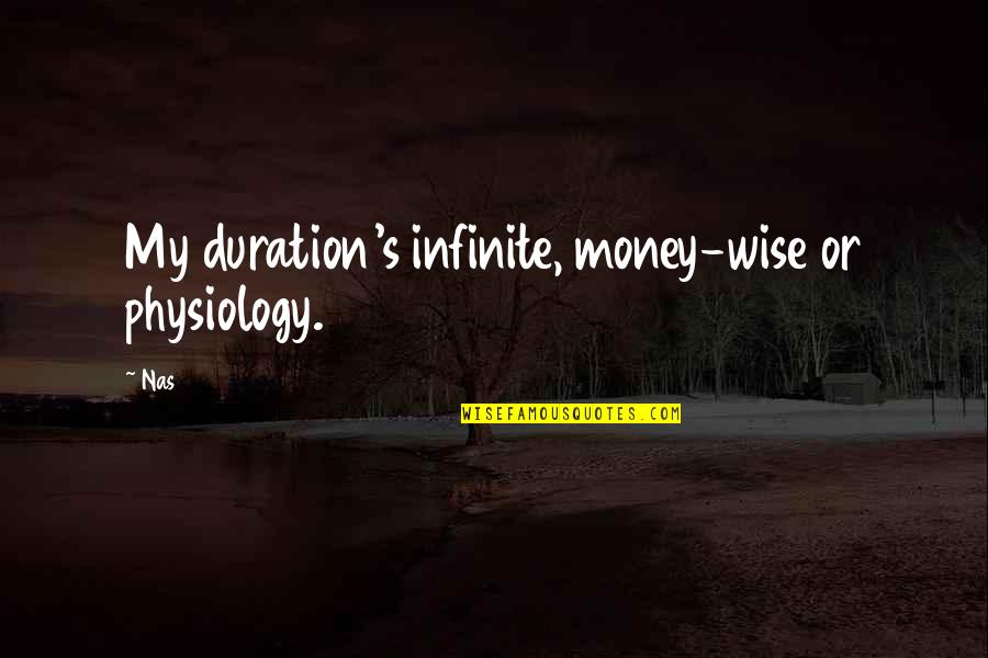 William Hooper Quotes By Nas: My duration's infinite, money-wise or physiology.