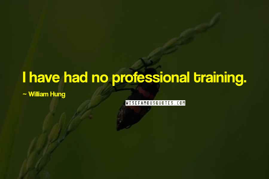 William Hung quotes: I have had no professional training.