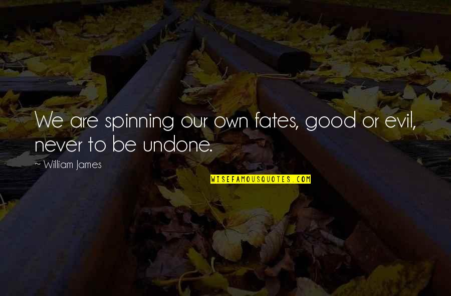 William James Quotes By William James: We are spinning our own fates, good or