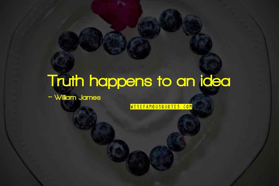 William James Quotes By William James: Truth happens to an idea