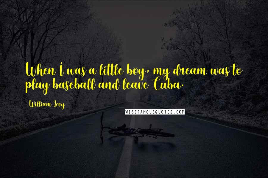 William Levy quotes: When I was a little boy, my dream was to play baseball and leave Cuba.