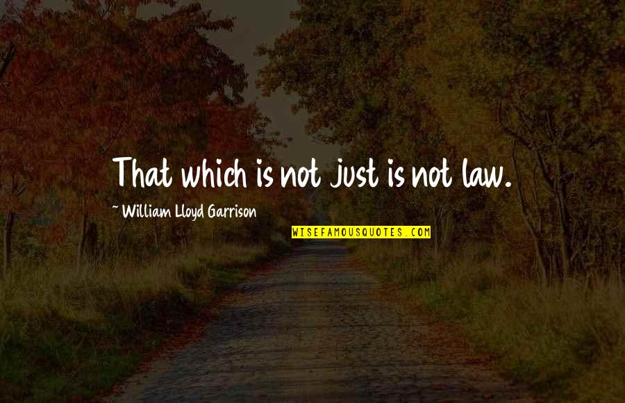 William Lloyd Garrison Quotes By William Lloyd Garrison: That which is not just is not law.