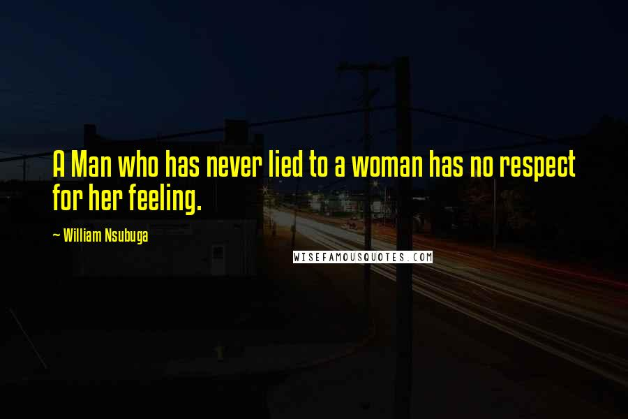 William Nsubuga quotes: A Man who has never lied to a woman has no respect for her feeling.