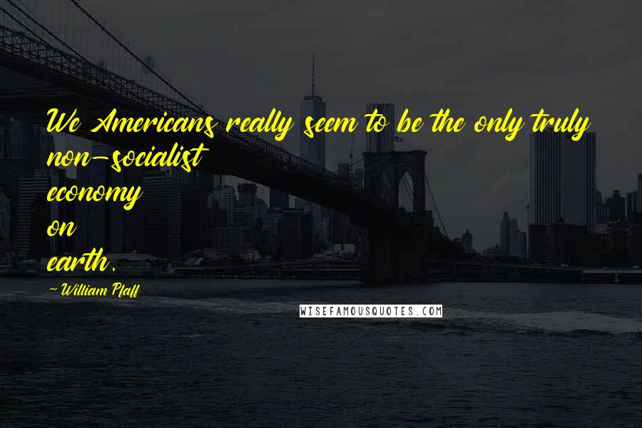 William Pfaff quotes: We Americans really seem to be the only truly non-socialist economy on earth.