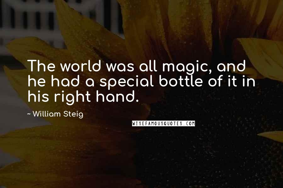 William Steig quotes: The world was all magic, and he had a special bottle of it in his right hand.