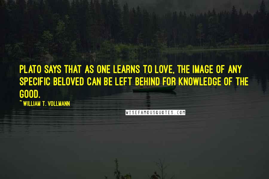 William T. Vollmann quotes: Plato says that as one learns to love, the image of any specific beloved can be left behind for knowledge of the Good.